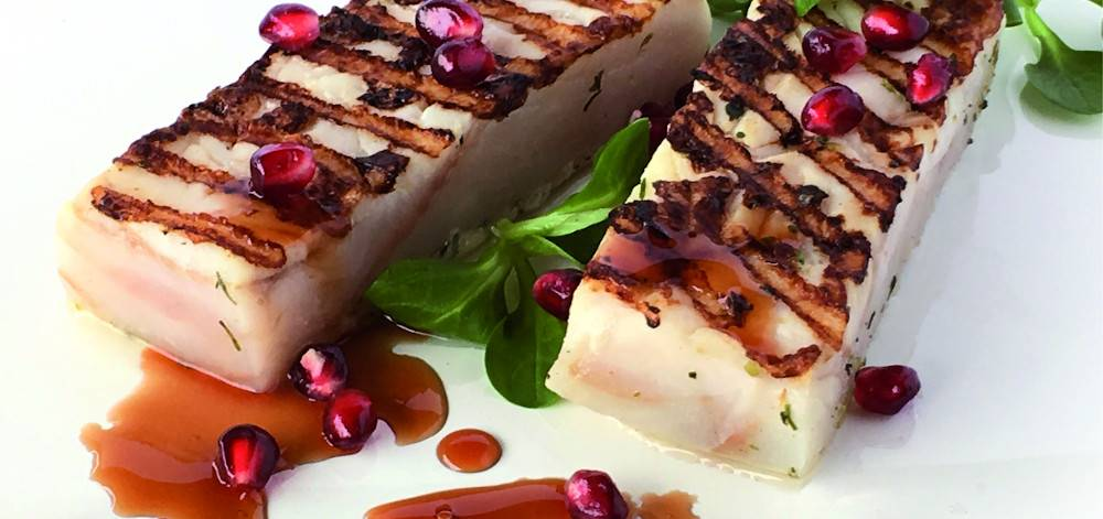 Codfish fillets with  pomegranate vinegar
