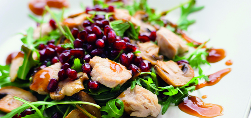 Chicken salad, champignon and pomegranate vinegar