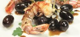 "Prawns with Bacon, Grapes and Aceto Balsamico di Modena I.G.P. ""Senso"""