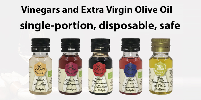 Vinegars and Extra Virgin Olive Oil, single-portion, disposable, safe